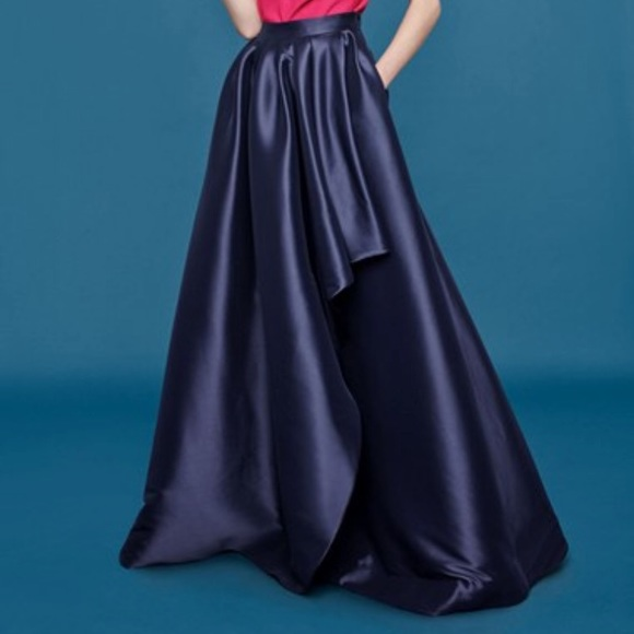 09f9ba9e92636 Eliza J navy blue waterfall formal maxi skirt